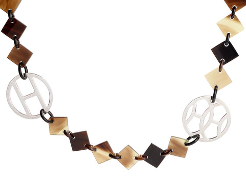 Hermès Sterling Silver and Buffalo Horn Lena Necklace