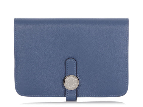 Hermès Bleu Brighton Evercolor Dogon Compact Wallet