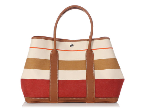 Hermès Multicolor Striped Rocabar Canvas and Gold Negonda Garden Party 36