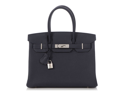 Hermès Bleu Nuit Togo and Orange Leather Verso Birkin 30