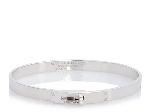 Hermès Small 18K White Gold Diamond Kelly Bracelet LG