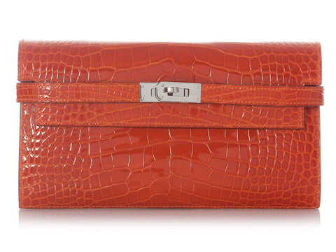 Hermès Orange Alligator Long Kelly Wallet