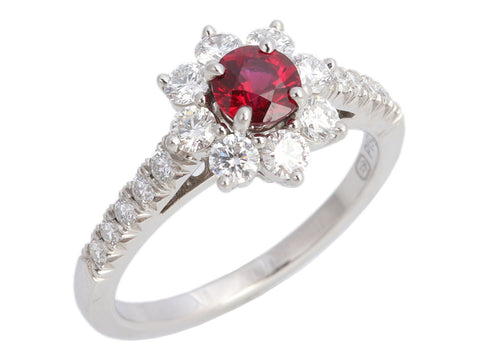 Harry Winston Petite Platinum Ruby and Diamond Sunflower Ring