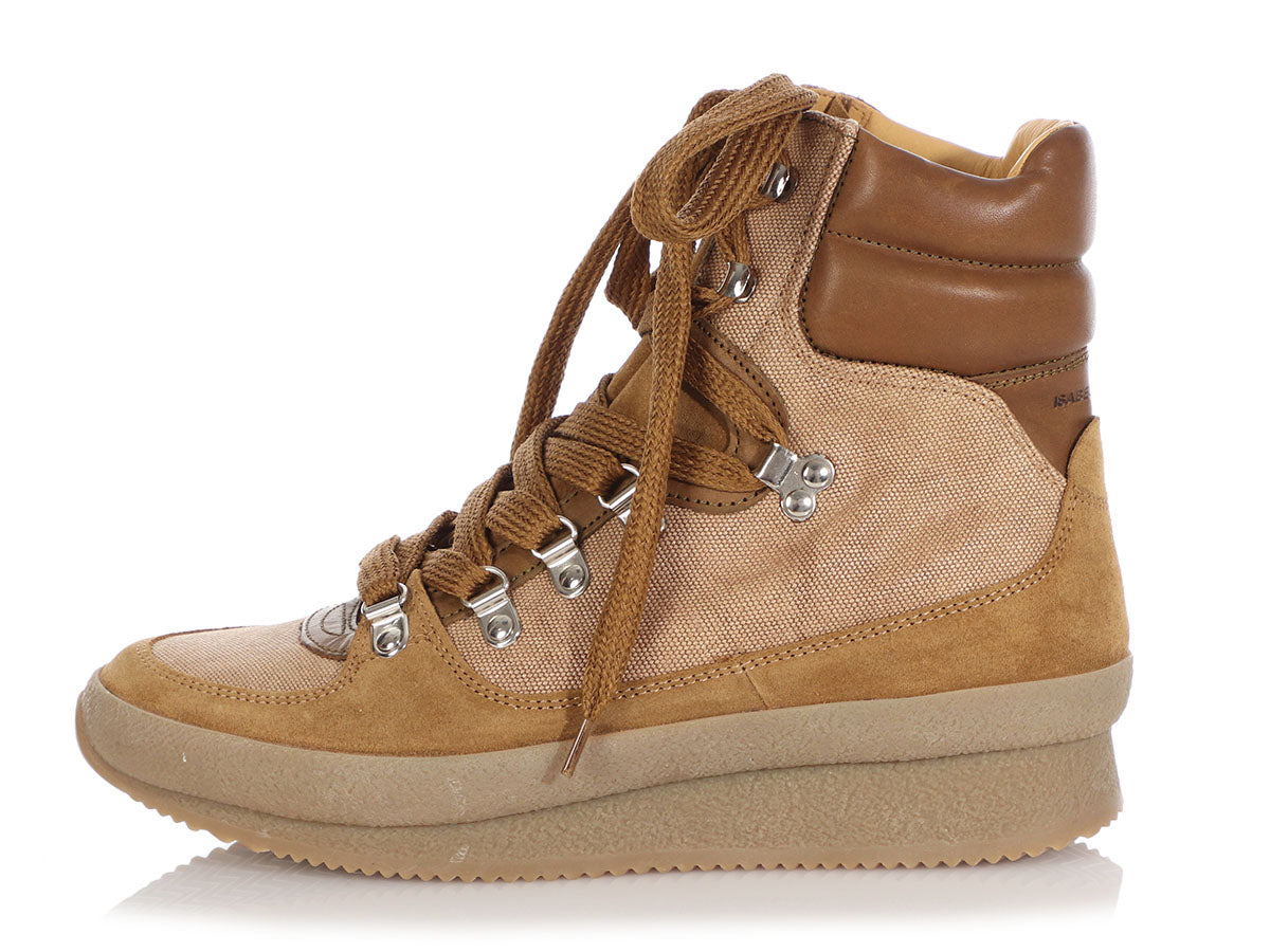 Isabel Marant Khaki Brendty High-Top Sneakers