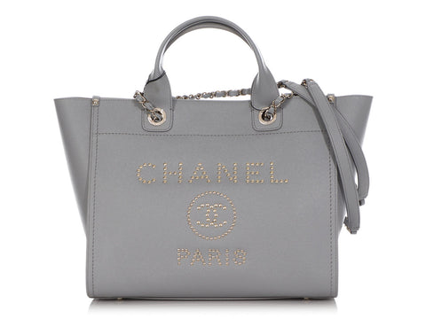 Chanel Large Gray Caviar Deauville Tote