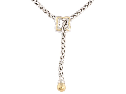David Yurman Two Tone Quatrefoil Lariat Necklace