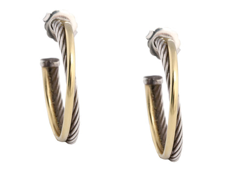David Yurman Two Tone Medium Crossover Hoops