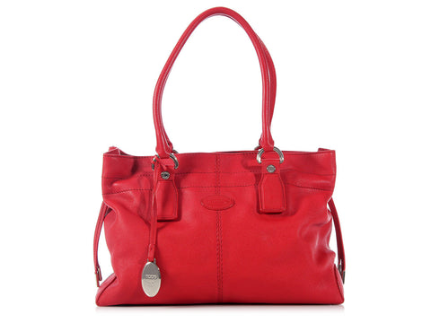 Tod's Red Drawstring Tote