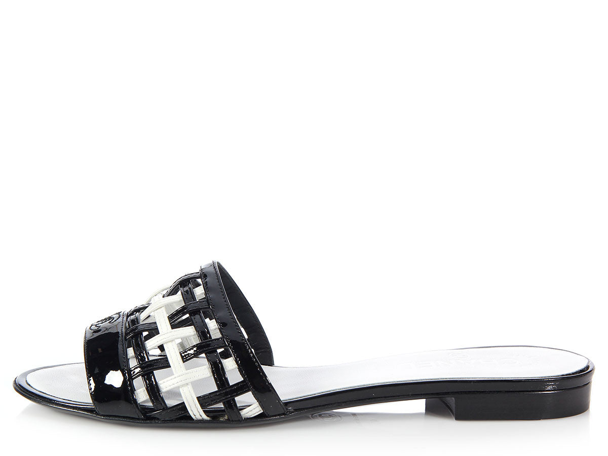 Chanel Black and White Woven Slide Sandals