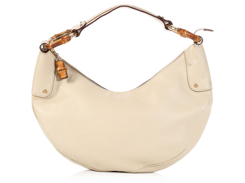 Gucci Cream Bamboo Hobo