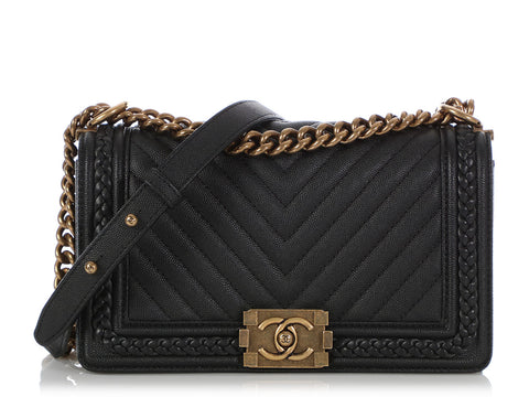 Chanel Old Medium Black Chevron-Quilted Calfskin Braid Around Boy Bag