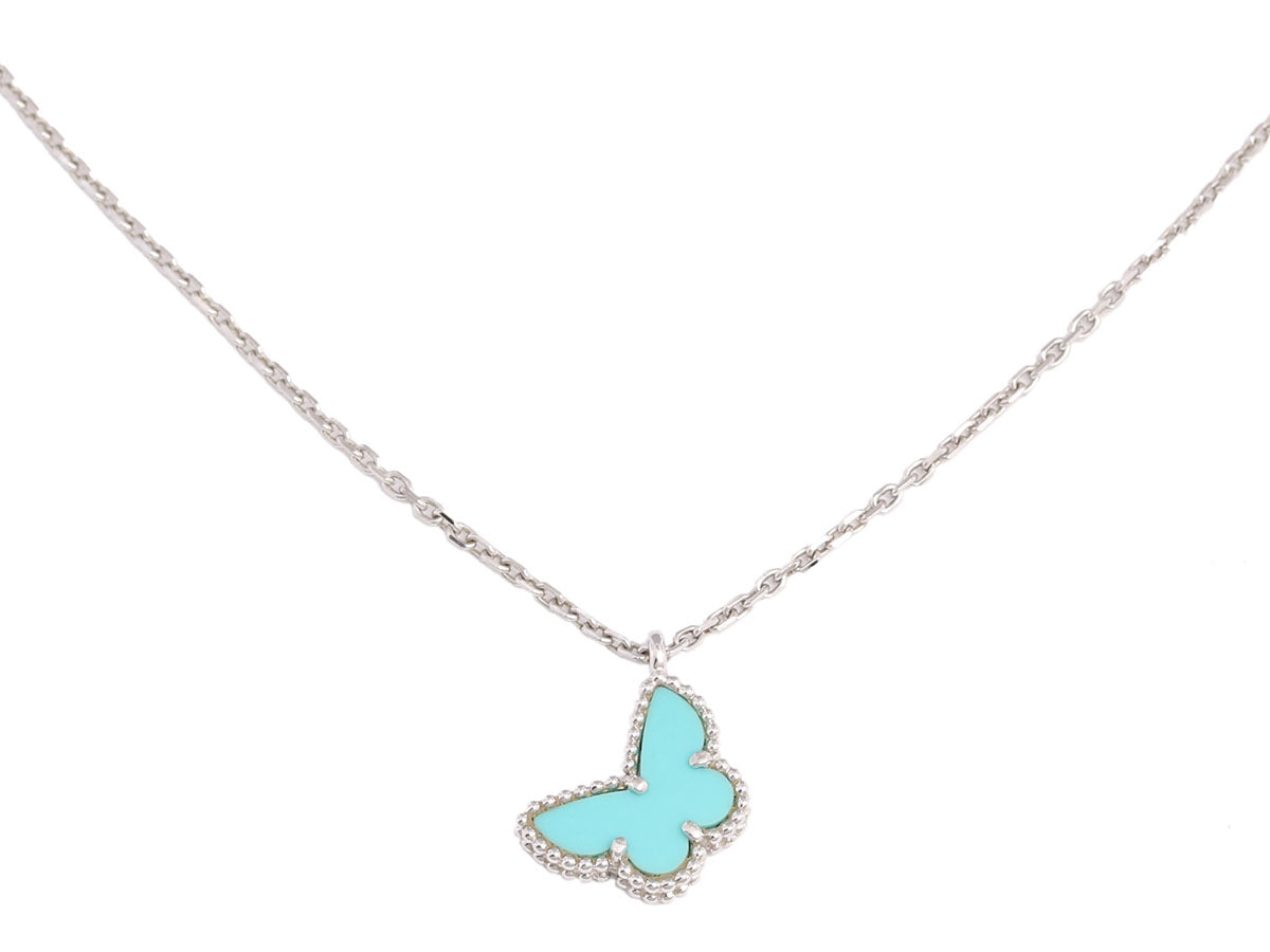Van Cleef & Arpels 18K Gold and Turquoise Sweet Alhambra Butterfly Necklace
