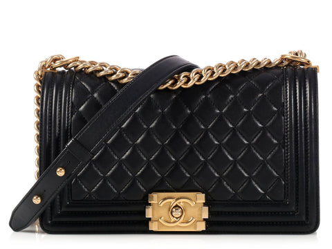 Chanel Black Old Medium Boy