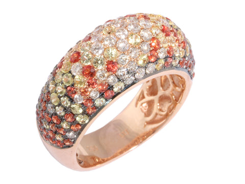 Multicolor Orange Sapphire Dome Ring