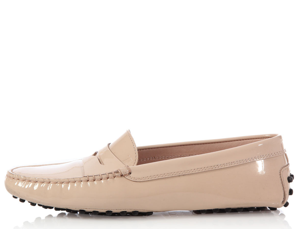 Tod's Nude Patent Driving Loafers