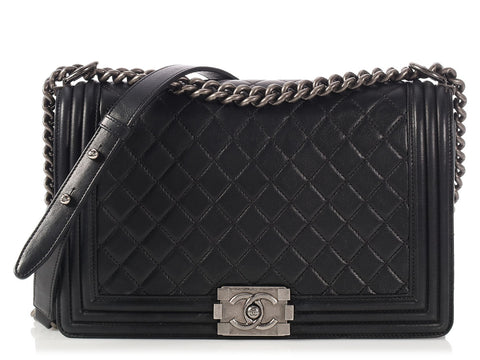 Chanel New Medium Black Quilted Lambskin Boy