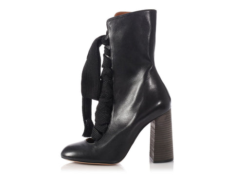 Chloé Black Harper Lace-Up Boots
