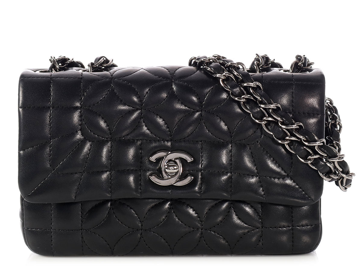 Chanel Mini Black Floral-Quilted Lambskin Flap