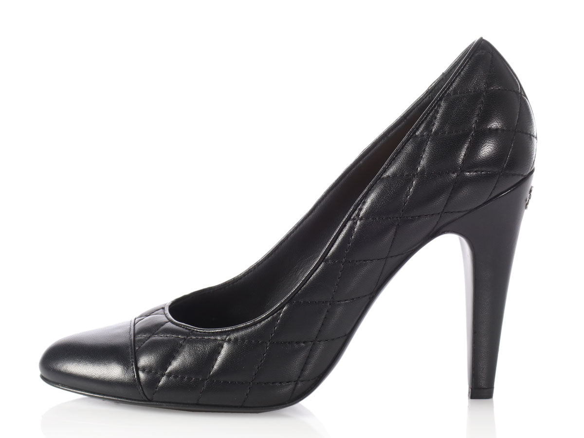 chanel pumps. chanel black quilted cap toe pumps c