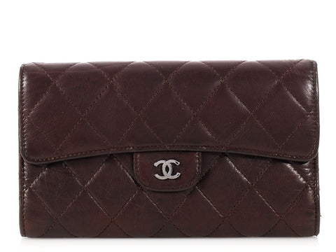 Chanel Brown Distressed Quilted Lambskin Wallet