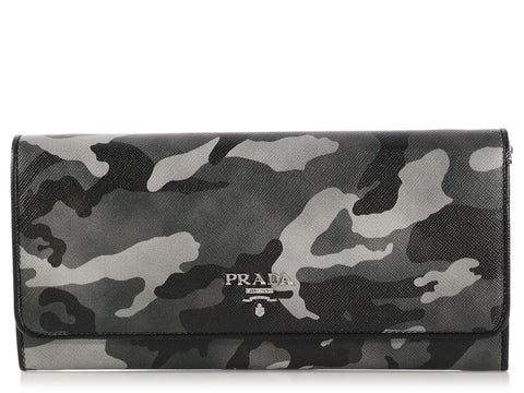Prada Grey Camouflage Wallet on a Chain WOC