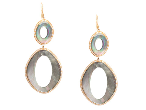 Ippolita Diamond and Black Shell Earrings