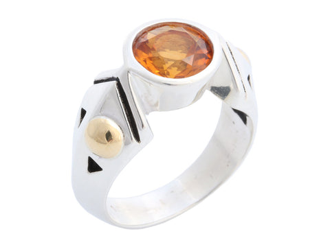 John Atencio Sterling Silver and 18K Yellow Gold Honey Citrine Ring
