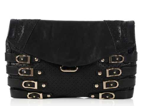 Jimmy Choo Black Perforated Brix Clutch