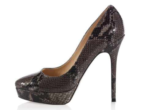 Jimmy Choo Gray Snakeskin Platform Pumps