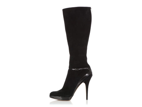 Jimmy Choo Black Suede and Snake Trim Platform Boots