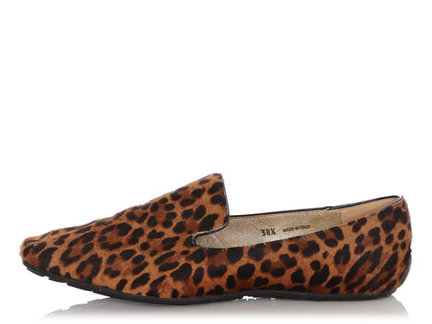 Jimmy Choo Leopard Print Pony Hair Loafers