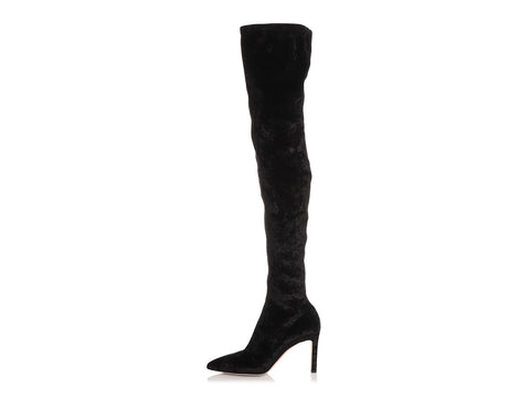 Jimmy Choo Black Crushed Velvet Over the Knee Boots