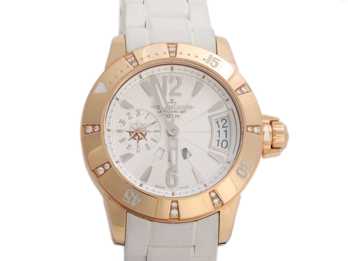 Jaeger-LeCoultre 18K Rose Gold Diamond Ladies Master Compressor Diving Watch 38mm