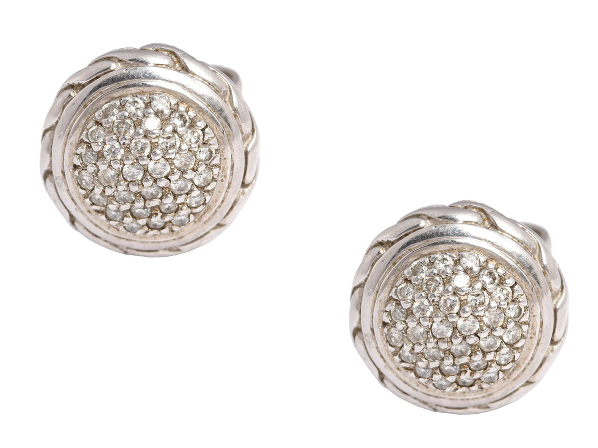 John Hardy 18K Gold and Sterling Silver Diamond Earrings