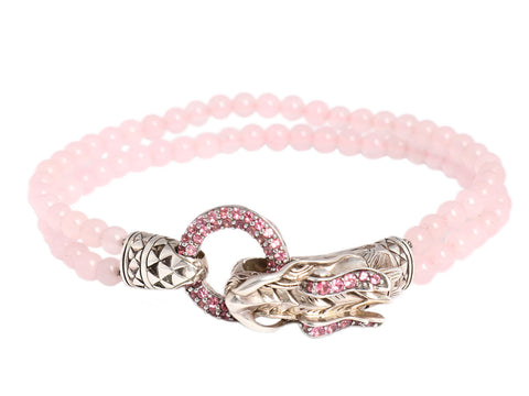 John Hardy Sterling Silver and Pink Sapphire Dragon Bracelet
