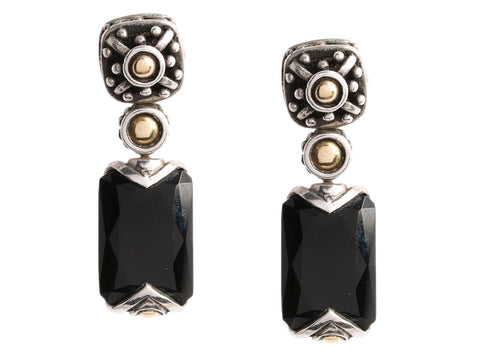 John Hardy Sterling Silver and 18K Gold Black Onyx Dot Jaisalmer Drop Earrings