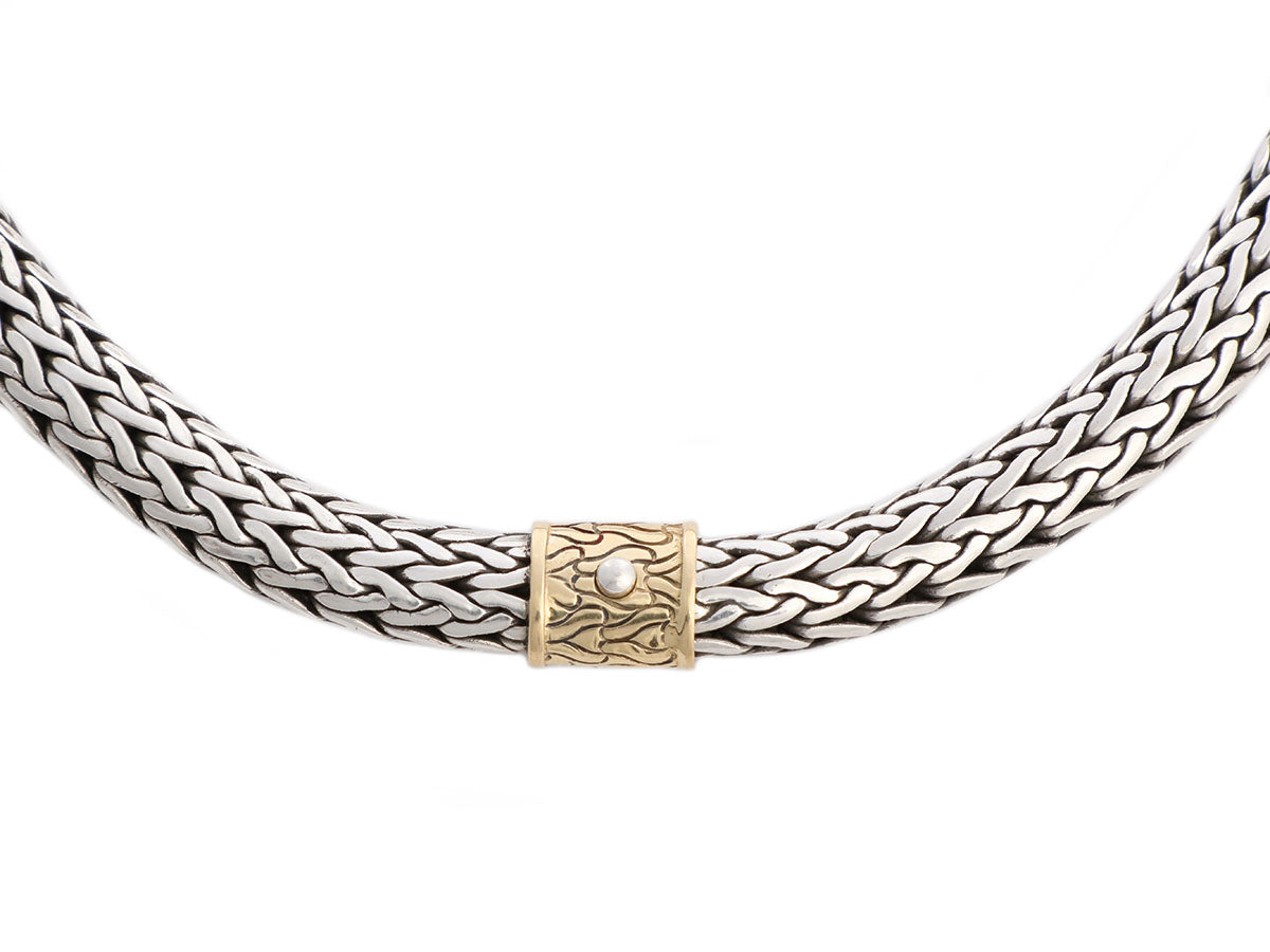 John Hardy Sterling Silver and 18K Yellow Gold Woven Classic Chain Necklace