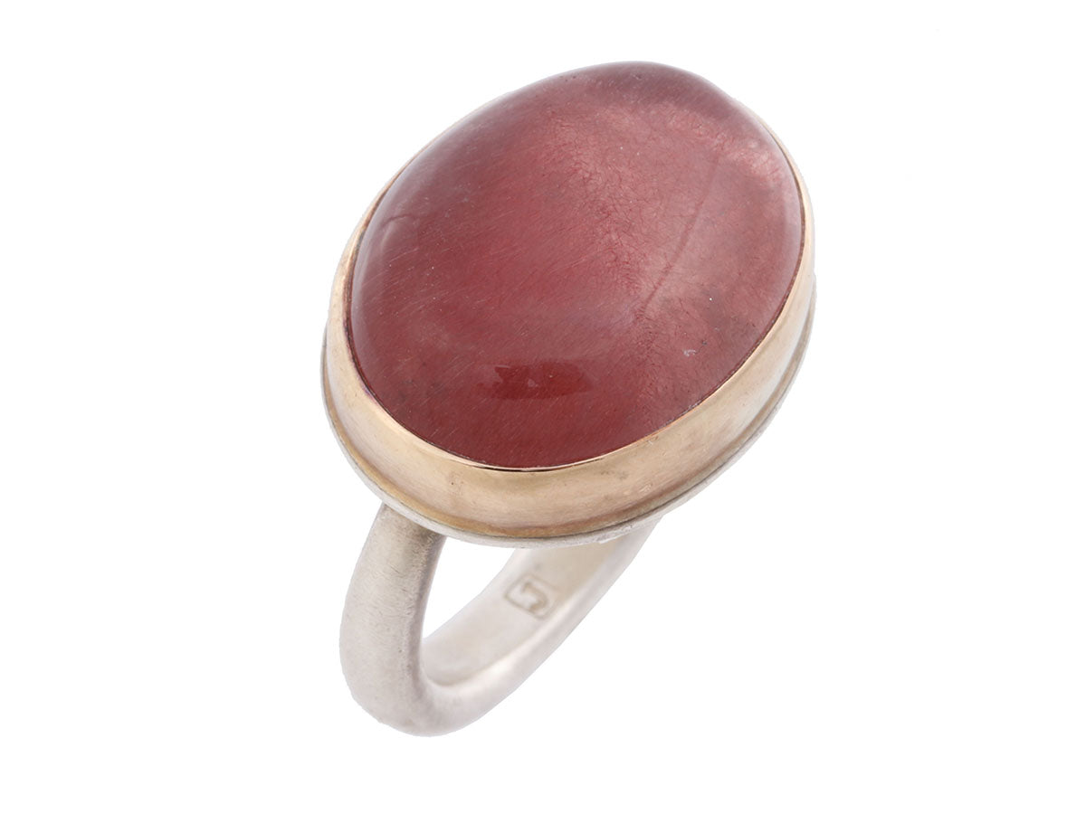 Jamie Joseph Sterling Silver and 14K Yellow Gold Strawberry Quartz Oval Cabochon Ring