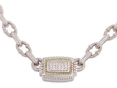 Judith Ripka Sterling Silver and 18K Gold Diamond Necklace