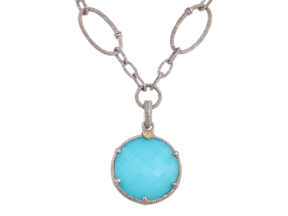 Judith Ripka Sterling Silver and 18K Gold Blue Eclipse Pendant Necklace