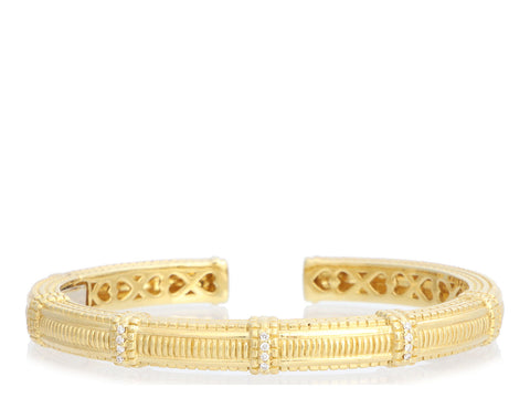 Judith Ripka Narrow 18K Yellow Gold Diamond Pia Cuff Bracelet