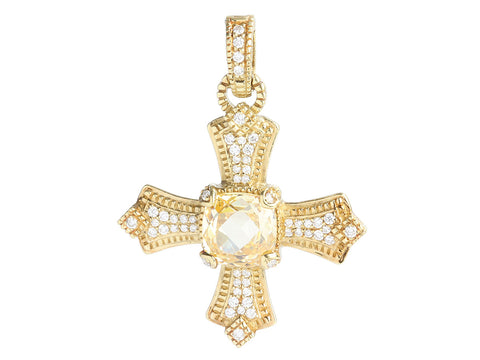 Judith Ripka 18K Yellow Gold Canary Crystal and Diamond Maltese Cross