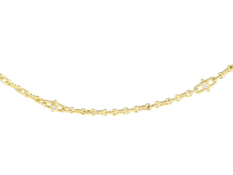 Judith Ripka 18K Yellow Gold Twisted Link Diamond Necklace