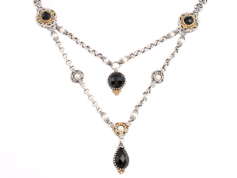 Konstantino Two-Tone Black Onyx and Pearl Necklace