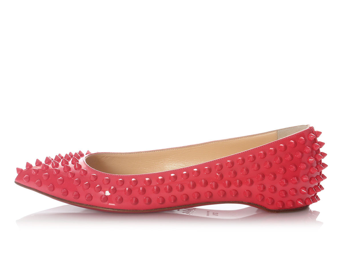 Louboutin Framboisine Pigalle Spiked Flats