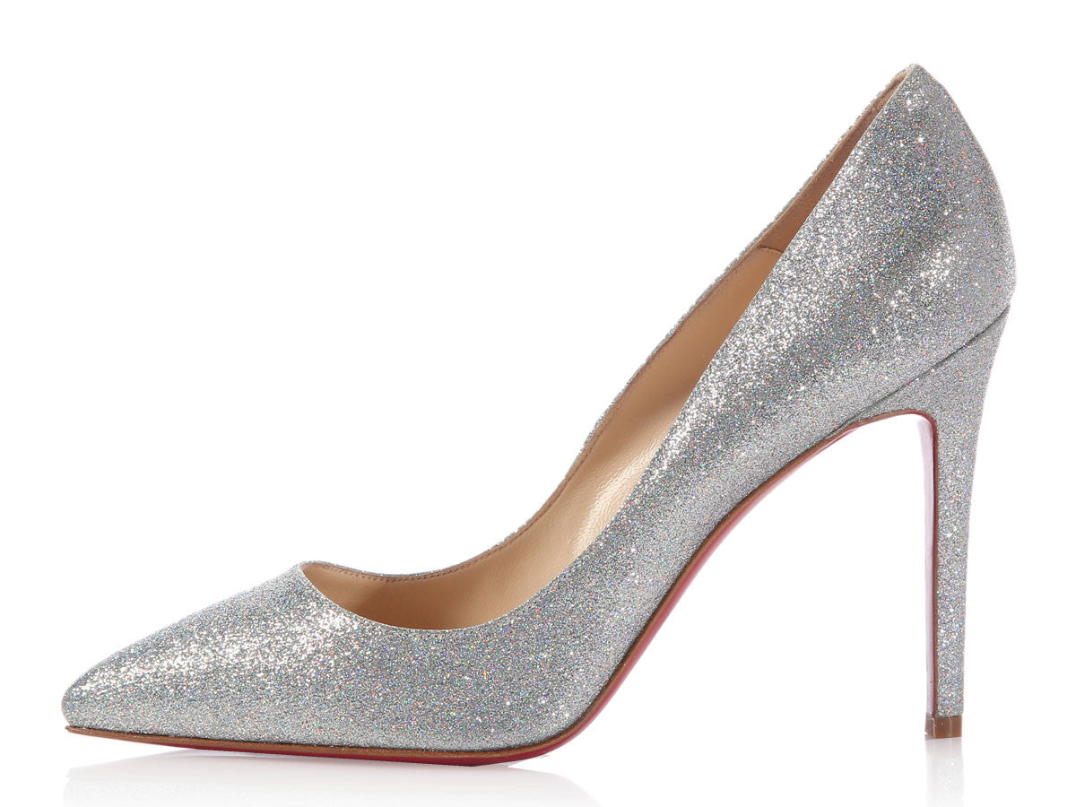 Louboutin Silver Glitter Pigalle Mini 100 Heels