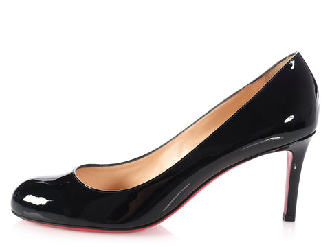 Christian Louboutin Black Patent Simple 70 Pumps