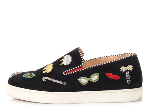 Christian Louboutin Black Pik N Luck Suede Skater Shoes
