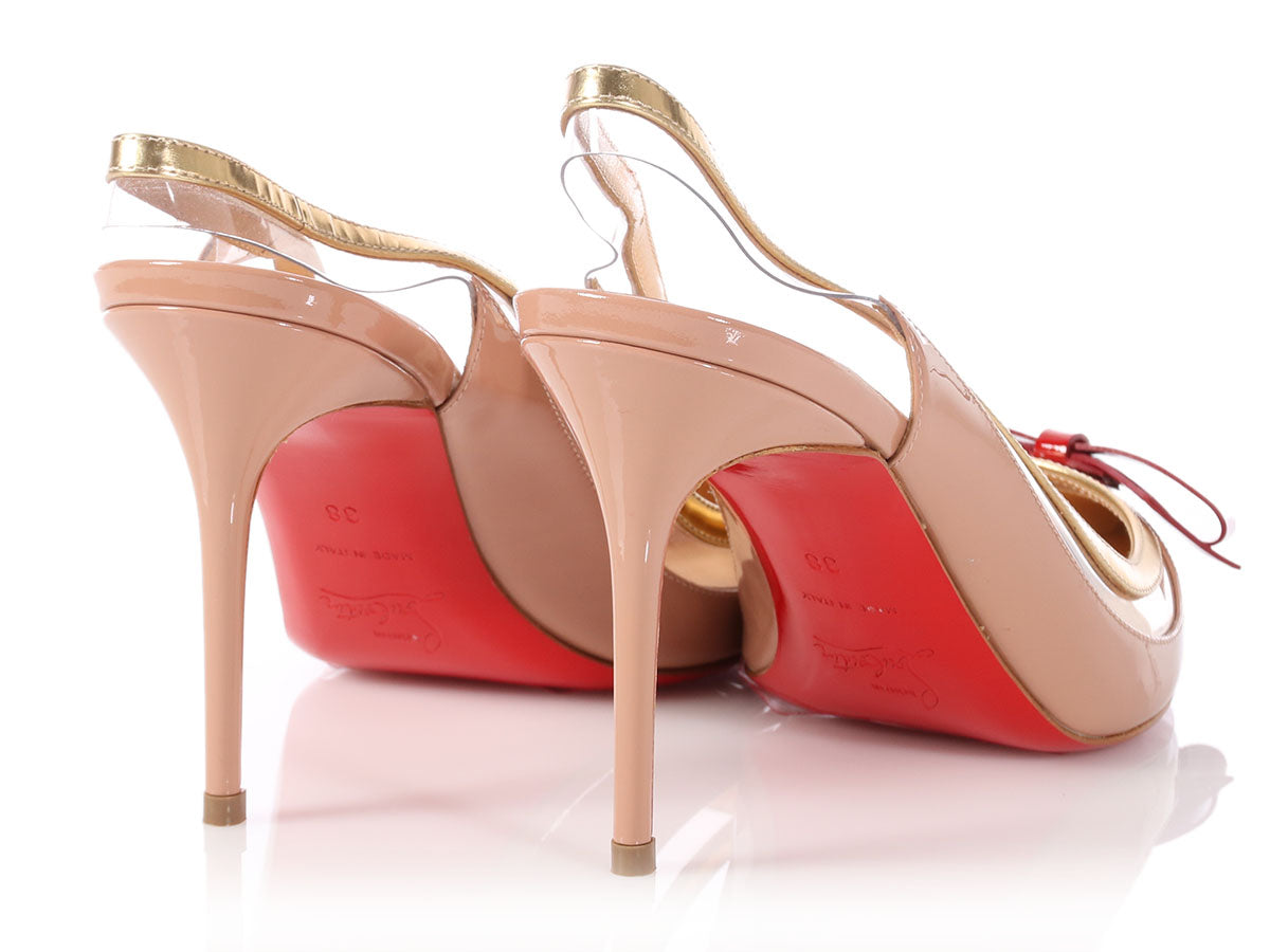 9b1771457a3 Christian Louboutin Nude Patent Bow Suspendo Slingback Pumps