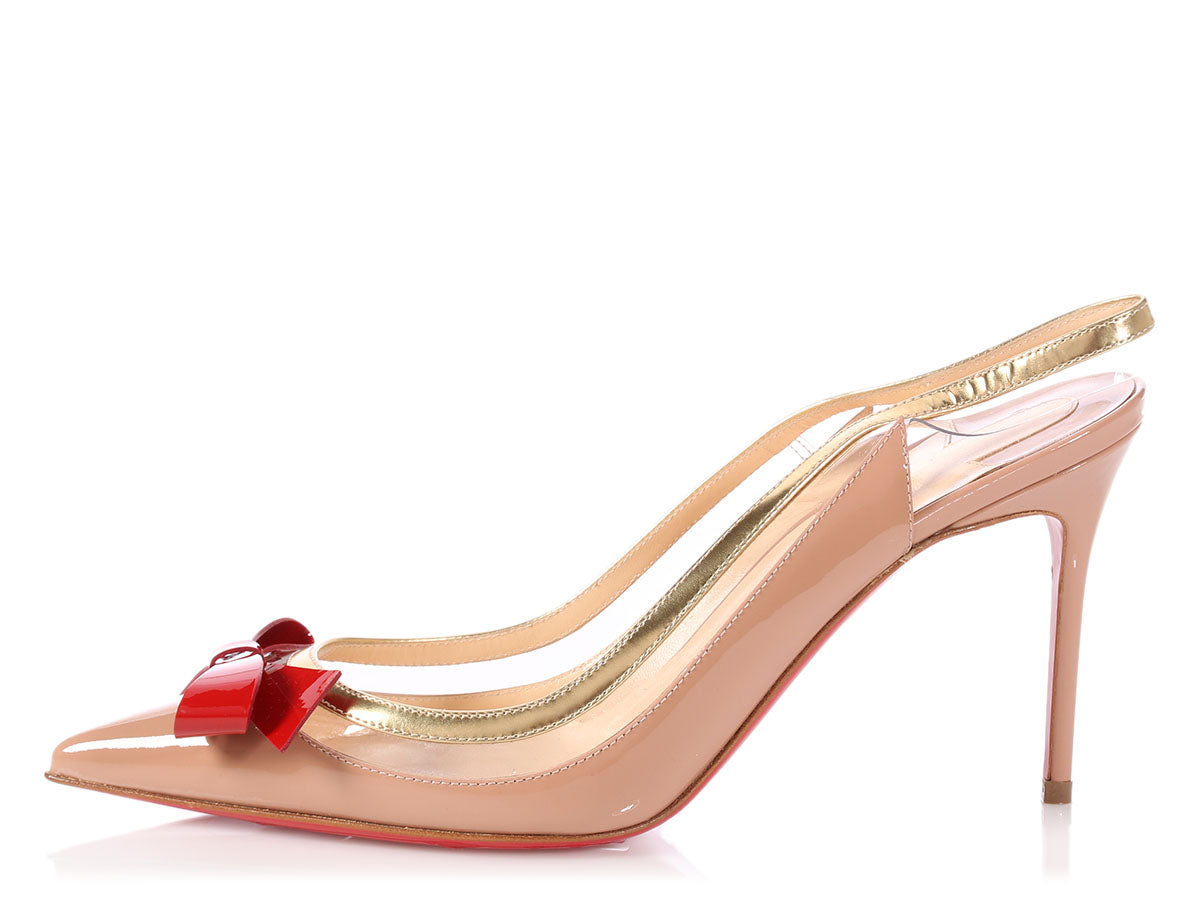 Christian Louboutin Nude Patent Bow Suspendo Slingback Pumps